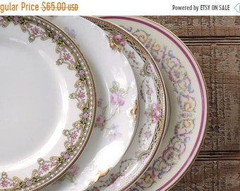 ON SALE Mismatched Limoges Bread and Butter Plates Set of 4 Antique French Limoges Plates Bridesmaid Luncheon Tea Party Plates