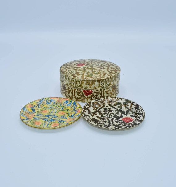 Box of Coasters Set of 9 Vintage Lacquered Paper Mache Coasters Made in Japan Alcohol Proof Barware Coaster Set Florentine Motif