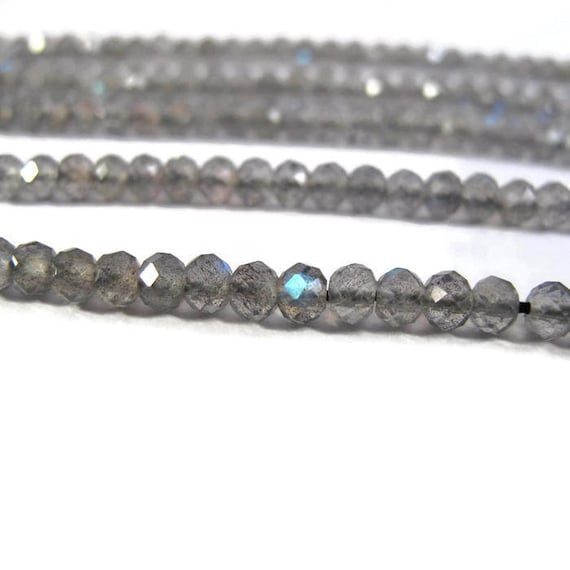 Special Labradorite Beads, Natural Faceted Gemstone Rondelles, 6.5 Inch Strand, Over 55 Gemstones for Making Jewelry, 3.5-4mm (R-Lab3)