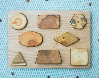 Wood Puzzle / Puzzle for Babies and Toddlers/ Montessori Toy / Educational Toy/ Toddler Development Wood Toy/ Natural Wooden Toy