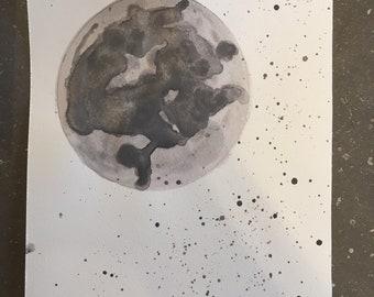 "Mini watercolor ""fly me to the moon""-watercolor original 4.5x6po"