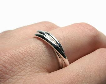Sterling silver rolling ring • Russian wedding ring interlocking rings • Triplet ring sterling silver ring set interlinked rings handmade