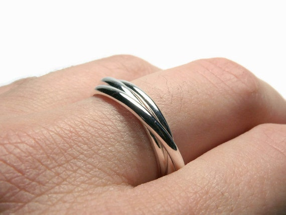 Sterling silver rolling ring Russian wedding ring