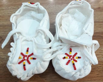 Baby booties/ handmade beaded  baby moccasins