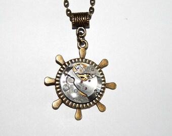 Steampunk Pendant, Steering Wheel Necklace, Jewelry, ship wheel, vintage watch parts, antique Mechanical Watch Movement #et 600