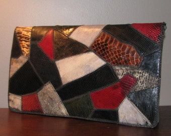 Welcome to the Jungle // Exquisite VARON Snakeskin Leather Purse Envelope Clutch PATCHWORK Python Lizard