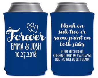 Neoprene Collapsible Can Coolers Custom Beer Holders Beverage Insulators Romantic Wedding Favors | Forevers (2A) Hearts | READ DESCRIPTION