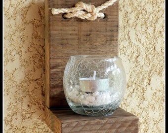 Driftwood wall candle holder
