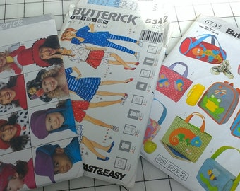 Collection of 3 Butterick Kid Friendly Patterns
