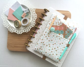 Planner cover - planner pouch - planner bag - Mint and Gold Polka Dots Pocket Planner Pouch, Planner Band - pencil pouch - pen case
