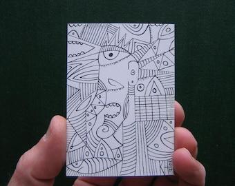 Doodle-J5, Original ACEO Illustration, Art Card, by Fig Jam Studio