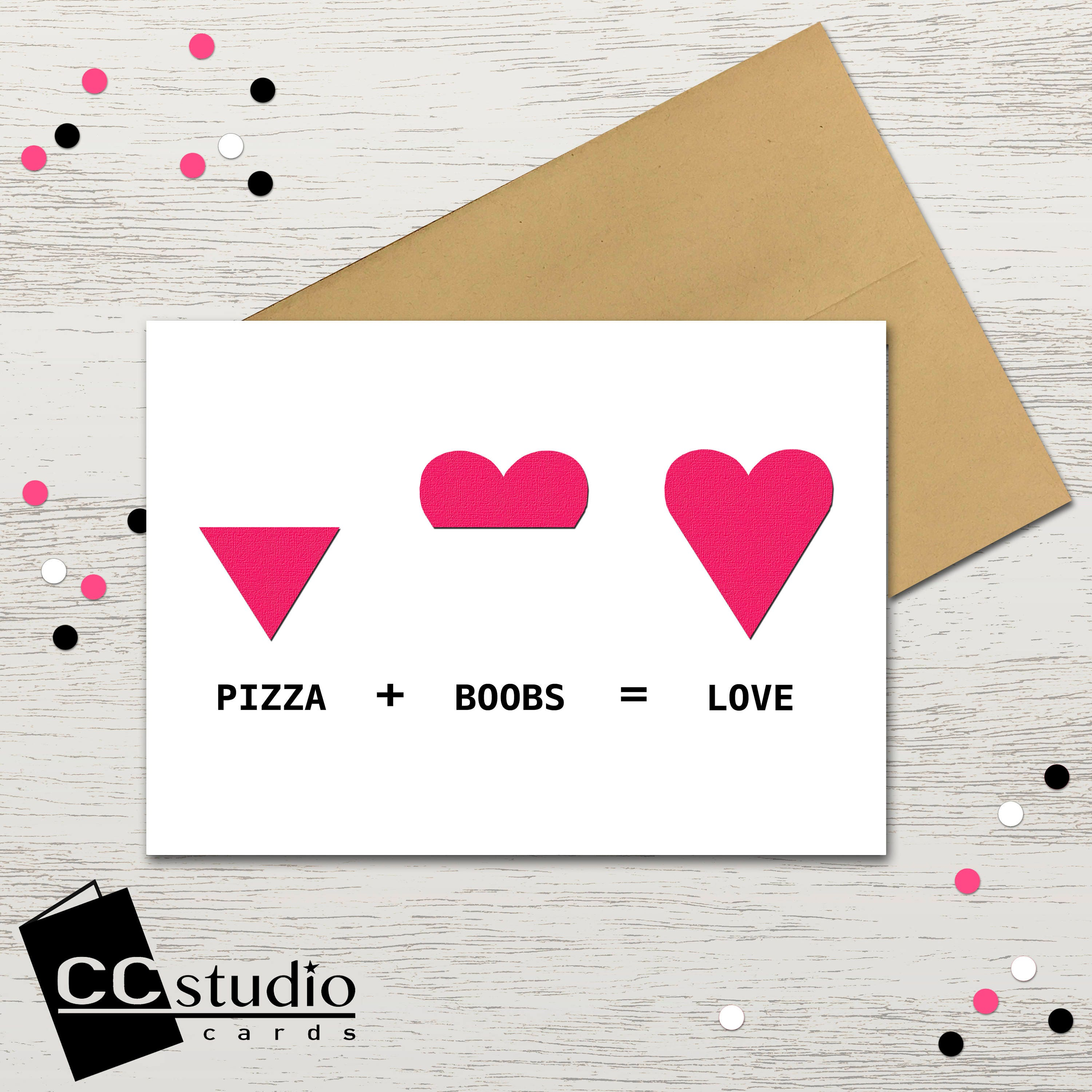 Pizza And Boobs Equal Love Valentines Day Card Suggestive Anniversary Humorous Cards Funny Birthday Blank