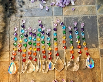 YOU PICK Chakra Rainbow Crystal Prism Charm Ornament With Vintage Antique Chandelier Suncatcher Crystals lamp auto mirror ceiling fan pull