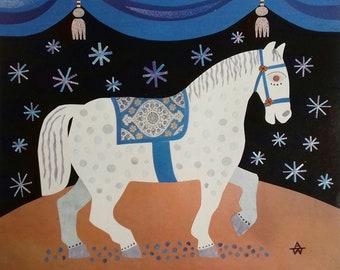 Original Collage Circus Horse 2, Original Art, Folk, Naive Art, Horse, Equestrian, Circus, Recycled Art, Stars, Theatre, Amanda White Design