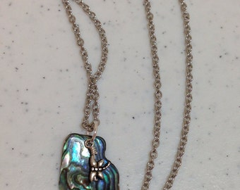"Abalone and Dragonfly Necklace on Antique Silver 18.25"" Chain Pendant is Approximately 1.5"" Long Previously Twenty Eight Dollars ON SALE"
