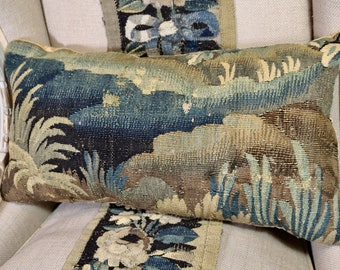 Aubusson Verdure Tapestry Pillow 17th Century Antique Cushion