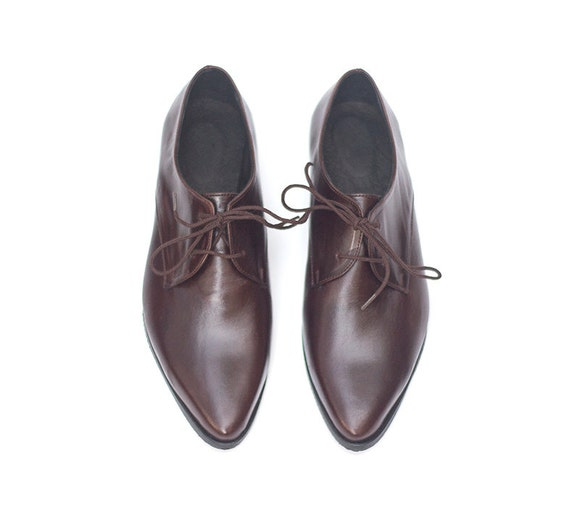 Brown Shoes Flat Leather Closed Shoes Brown Women Oxford Flat Shoes Shoes Shoes Dark Oxfords Leather ZgxwwqfA6t