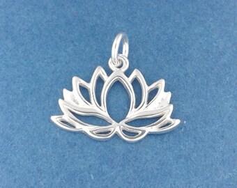 LOTUS FLOWER Charm .925 Sterling Silver Charm Yoga, Meditation Pendant - d53916