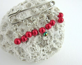 Red Beaded Shawl Pin - Scarf Pin - Sweater Pin - Silver and Red Kilt Pin