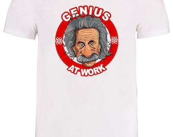 GENIUS AT WORK- Albert Einstein, Geek Hero Men's Tshirt From FatCuckoo MTSUB2251
