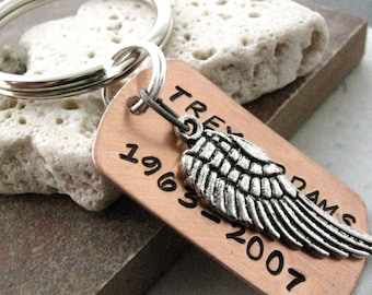 Memorial Keychain, Personalized Angel Wing, Remembrance gift, keepsake for the grieving soul, Loss of Loved One, sympathy gift, grief gift