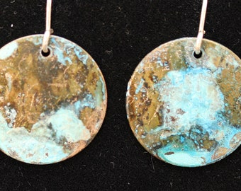 Etched Copper Earrings with Blue Patina (033018-025)