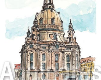Dresden Germany / art print from an original watercolor painting