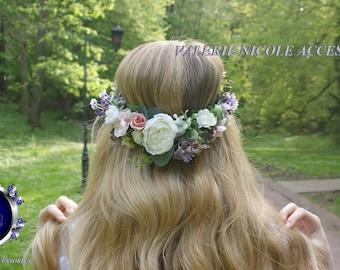 Purple Lavender Flower crown Floral crown Flower vine Wedding hair accessories Fower girl crown Flower hair wreath Bridal flower crown