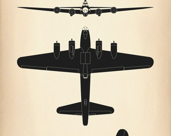 B-17G Flying Fortress WW2 Aircraft Recognition Poster