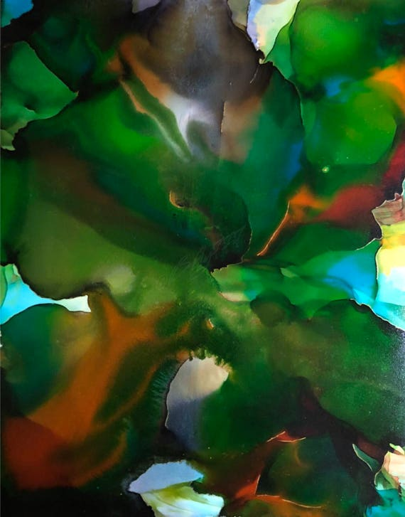 """Original Alcohol Ink Abstract Painting: """"Looking Up"""" (11"""" X 14"""")"""