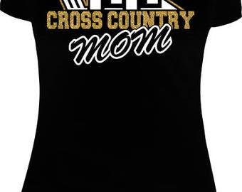Cross Country Mom Shirts, Glitter Shirts, Custom Shirts, Cross Country Shirts, Women Shirts, Cross Country Ball Glitter Tees