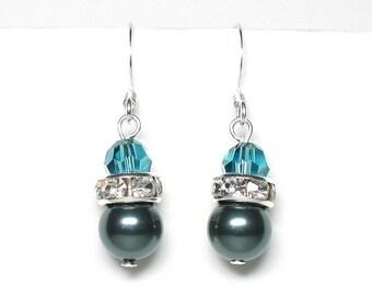 Tahitian crystal earrings, Swarovski crystal, teal crystal, teal earrings, crystal pearls, crystal rondelles, silver plated earwires