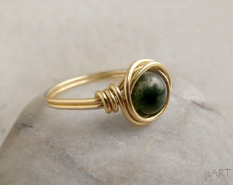 Moss Agate Wire Wrapped Ring, Green Gemstone Ring, Heart Chakra Stone Ring, Dainty Wire Ring, Copper, Silver or Gold Ring, Gift for Her