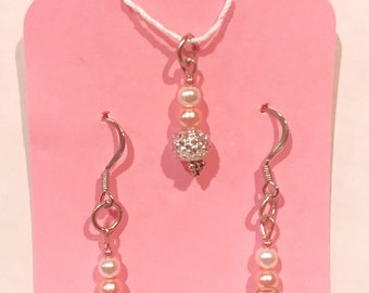 Pink Sparkly Beaded Drop French Hook Earrings and Pendant Hypoallergenic