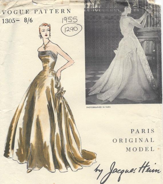 1955 Vintage VOGUE Sewing Pattern B34 DRESS Eeveing Gown