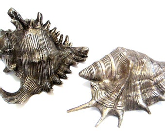 """Shell Sculptures 6"""" Set of 2 Nautical Decor Paper Weights Seashore Beach Cabin, Conch Shell"""