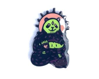 limited edition third eyed  Spirit animal Panda  neon remix soft enamel hatpin with glow-in-the-dark paint