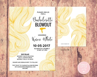 Bachelorette Blowout invitation, Bachelorette Party Invitation, Blow Out Party, Salon Opening, Salon Grand Opening- Lovely Little Party