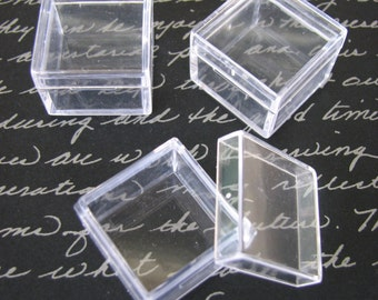 50 Pack Clear Acrylic 1 x 1 inch Box Storage  SQUARE Container Charm Earring Gemstone Boxes Bead Gems Trinket Jewelry