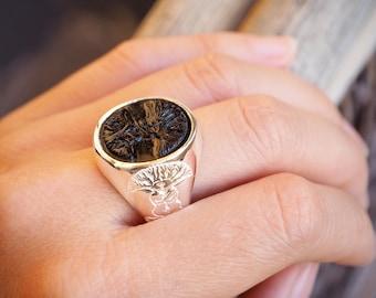 Tree Of Life Ring Black Onyx Handmade Regnas In Sterling Silver 925