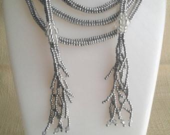 Corraline Necklace/Lariat, Soft Silver