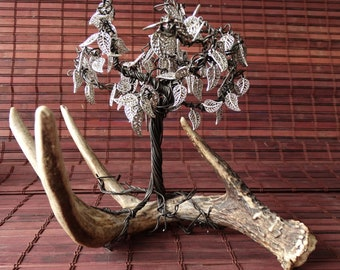 Wire tree sculpture art, tree attached to deer antler, unique artwork from Northern Alberta Canada, great gift idea