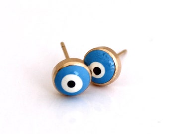 Evil Eye Stud Earrings , Gold Stud Earrings , Evil Eye Earrings , Blue Evil Eye , Evil Eye Jewelry , Eye Stud Earrings , Everyday Earrings