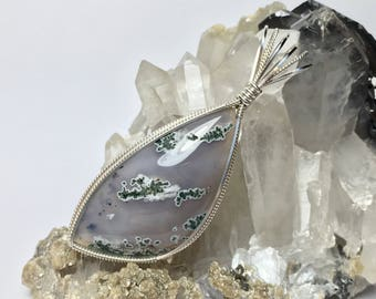 Bulgarian Plume Agate Pendant in .925 Sterling Silver- Handmade Gemstone Jewelry- One of a Kind Lapidary Art- Jewelry