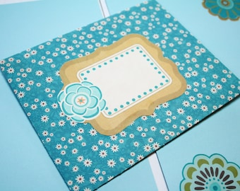 FLOWER ENVELOPE STATIONERY; Handmade Envelope with Two Sheets of Matching Stationery