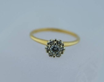 Circa 1950 14K YG Diamond cluster Ring, Size 9