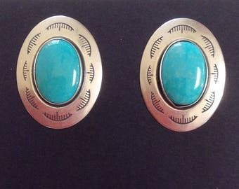 Native American Navajo Turquoise Sterling Silver Oval Stamped Post Earrings Hallmark