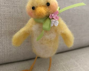 Needle felted wool Easter Chick, spring decor, yellow, fuzzy, by Judi B Designs