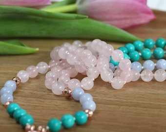 Turquoise yoga mala 108, bohemian jewelry, rose quartz long necklace, meditation prayer beads, reiki long mala necklace, japa mala