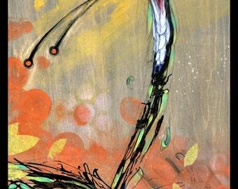 Quetzal Art - Bird Art Print - Wall Art - Waterfall Feathers by Black Ink Art